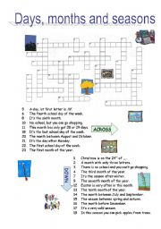 English Worksheet: DAYS, MONTHS, SEASONS crossword