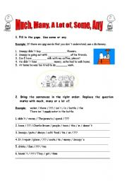 English Worksheet: MUCH, MANY, A LOT OF, SOME, ANY