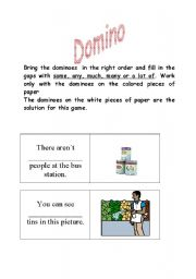 English Worksheet: MUCH MANY DOMINO part 1