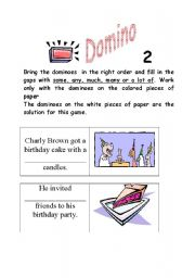 English Worksheet: MUCH MANY DOMINO part 2