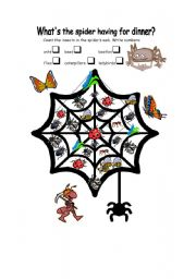 English Worksheets: What�s the spider having for dinner?