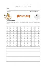English Worksheets: Scrambled letters with animals
