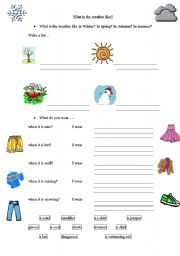 English Worksheet: Weather, clothes and activities