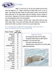 English Worksheets: Sleepy worksheet