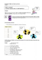 English Worksheet: Personal pronouns - object and subject pronouns