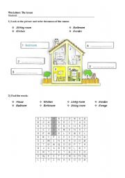 English Worksheet: The house- nice activity for kids