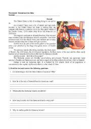 English Worksheets: Hawaii and the Hula - reading comprehension