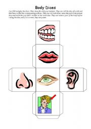 English Worksheets: The body dices