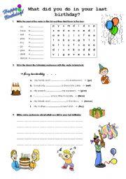 English Worksheet: My last birthday