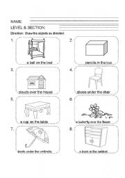 English Worksheets: position words and determiners