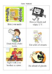 English Worksheets: Used to - flashcards - part I
