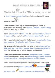 English Worksheets: Harry Potter�s First Day of School