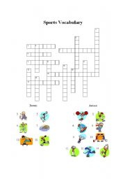 English Worksheet: Sports Vocabulary Crossword