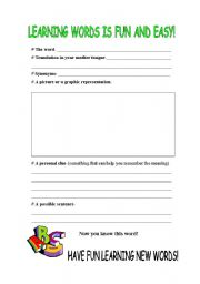 English Worksheets: Learning a Word