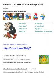 English Worksheets: SMURFS_SECRET_OF_THE_VILLAGE_WELL