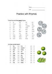 English Worksheet: Practice with Rhymes