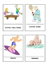 English Worksheet: Sports flashcards- ing form