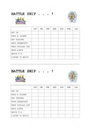 English Worksheets: Battle Ship time