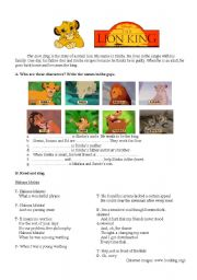English Worksheets: The Lion King