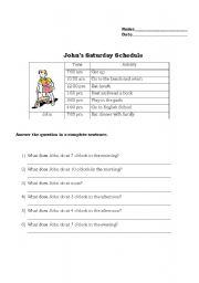 English Worksheets: John�s Schedule