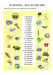 English Worksheets: occupations - what do they need?