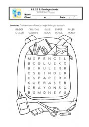 English Worksheet: School things - wordsearch