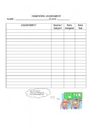 English Worksheets: Homework assignment