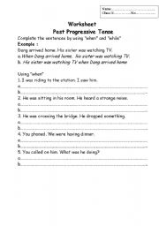 Worksheets Progressive Verb Tense Worksheets english teaching worksheets past progressive tense with when and while