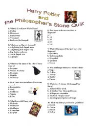English Worksheet: Harry Potter and the Philosopher�s Stone quiz