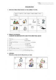 English Worksheet: Present Continuous test