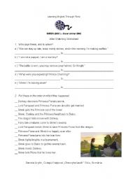 English Worksheet: Shrek 1 - Post-viewing tasks