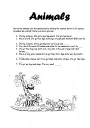 English Worksheets: Animals description