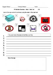 English Worksheets: Signs:  Must / Must not revision
