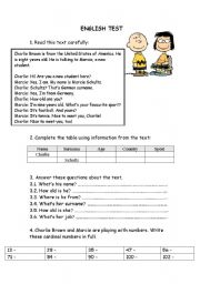 English Worksheet: English test - 5th grade