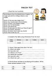 English Worksheets: English test - 5th grade