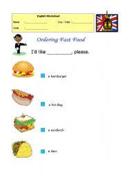 6 FREE ESL junk food worksheets