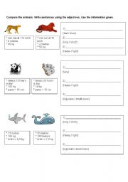 English Worksheets: Compare the Animals