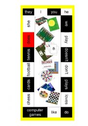 English Worksheet: Simple Present Board Game
