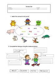 English Worksheet: Revision Test Animals - part 1