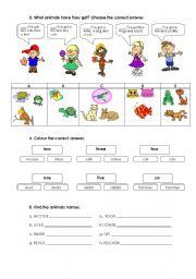 English Worksheet: Revision Test Animals - part 2