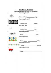 English Worksheets: How Many?