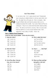 Reading Test: Ages 10-12 - ESL worksheet by matchiro