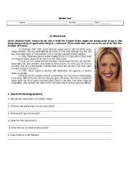 English Worksheets: Sara Michelle Gellar- reading comprehension
