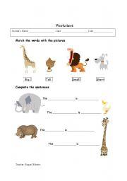 English Worksheets: Animals_Adjectives
