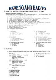 english worksheet have to and had to. Black Bedroom Furniture Sets. Home Design Ideas