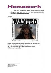 English Worksheet: Draw your own Wanted Poster