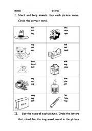 English teaching worksheets: Long vowels