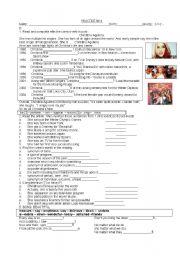 English Worksheet: Christina Aguilera Biography