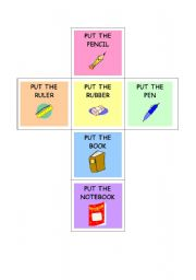 English Worksheets: classroom-prepositions dice