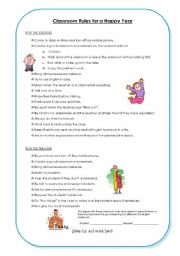 English Worksheet: Classroom Rules and Contract